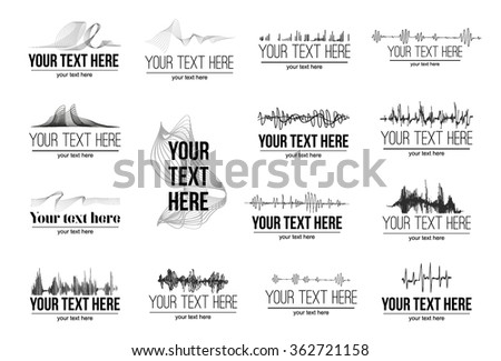 Dynamic abstract sound wave symbol logo illustration with text on dark background - stock vector