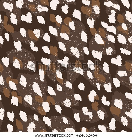 Dynamic animal seamless pattern with abstract spots like leopard, deer fur. Creative pattern for fashion clothes, wallpaper, home decor textile. Vector background. - stock vector