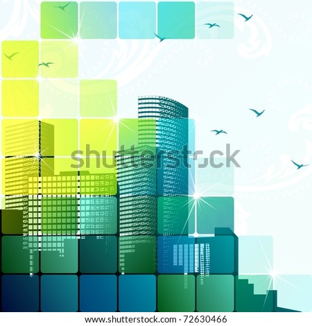 Dynamic cityscape in green. Includes transparencies (EPS10); jpg version also available - stock vector