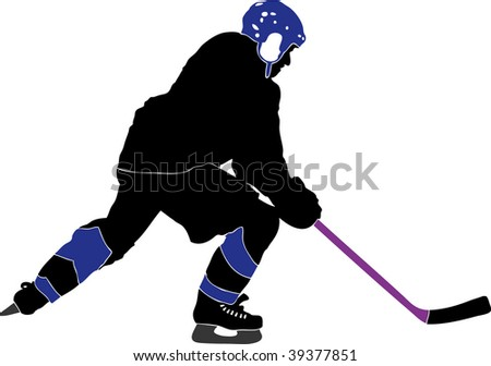 dynamic hockey player silhouette with racket