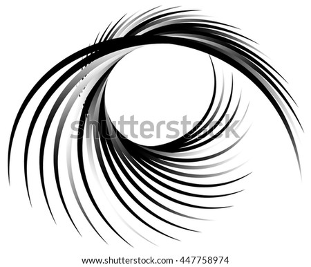 Dynamic lines with spiral distortion. Abstract monochrome geometric element. Asymmetric vortex, helix element. - stock vector