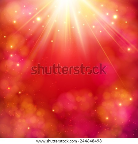 Dynamic red abstract background with a bright star burst or sunburst with rays of light and copyspace, square format vector illustration - stock vector