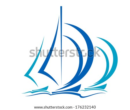 Dynamic sailboats logo racing before the wind across the ocean in shades of blue over white - stock vector