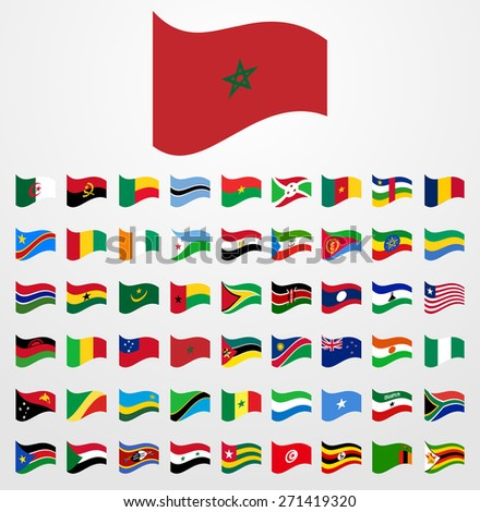 Dynamic waving flag collection 6/6 Africa - stock vector