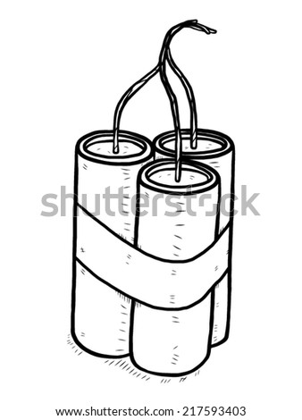 dynamite sticks / cartoon vector and illustration, black and white, hand drawn, sketch style, isolated on white background.