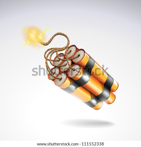 Dynamite with burning fuse. Explosive icon - stock vector
