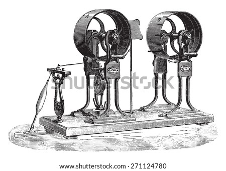 Dynamometer for cotton son ready to open, vintage engraved illustration. Industrial encyclopedia E.-O. Lami - 1875.