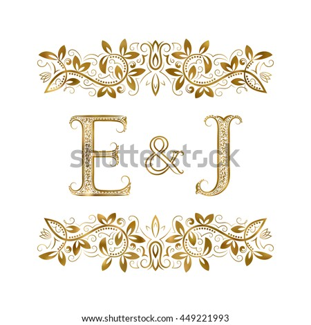 E And J Vintage Initials Logo Symbol The Letters Are Surrounded By Ornamental Elements