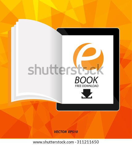 E-book display on tablet vector - stock vector