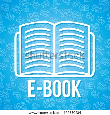 e book icon over blue background. vector illustration - stock vector