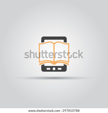 E book isolated vector icon, book and tablet pc or book reader - stock vector