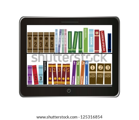 e-book library concept over gray background. vector illustration