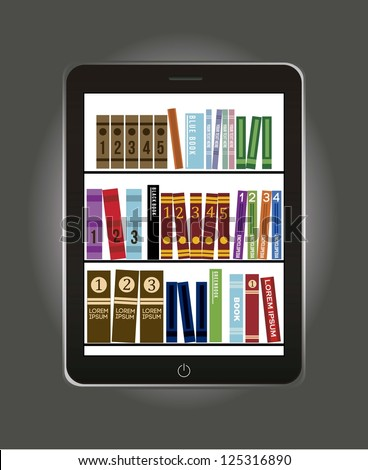 e-book library concept over gray background. vector illustration - stock vector