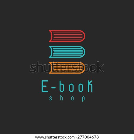 E-book mockup logo, internet education or learning icon, on-line book symbol - stock vector
