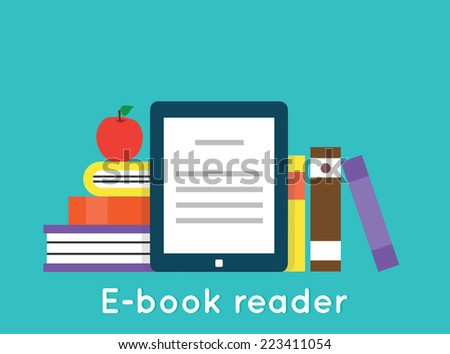 E-book reader and modern education by technology - vector flatstyle  - stock vector