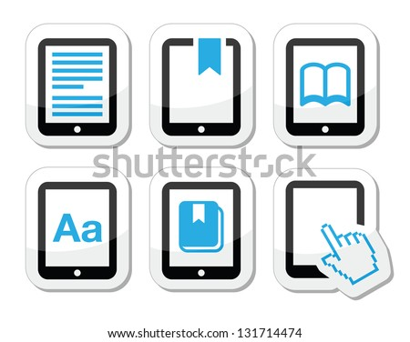E-book reader, e-reader vector icons set - stock vector
