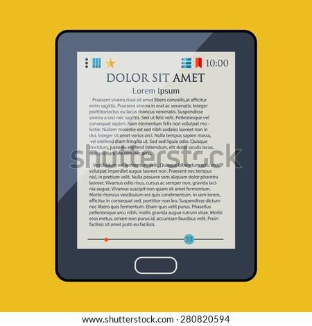 E-book reader. Electronic book. Newspaper. Magazine. Vector illustartion. - stock vector