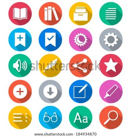 E-book reader flat color icons - stock vector