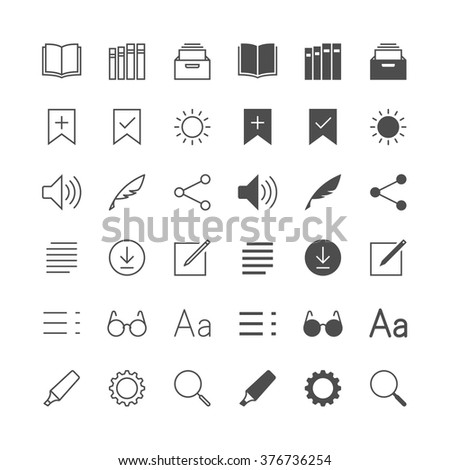 E-book reader icons, included normal and enable state. - stock vector