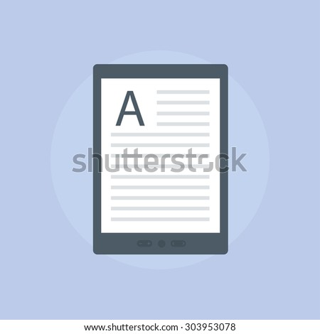 E-book vector icon in flat style. E-reader symbol Isolated on a light background. Electronic or kindle book concept.  - stock vector