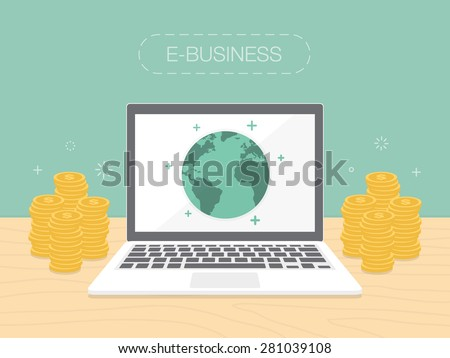 E-Business. Flat design illustration. Make money from computer and internet - stock vector
