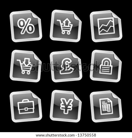 E-business icons, black glossy sticker series