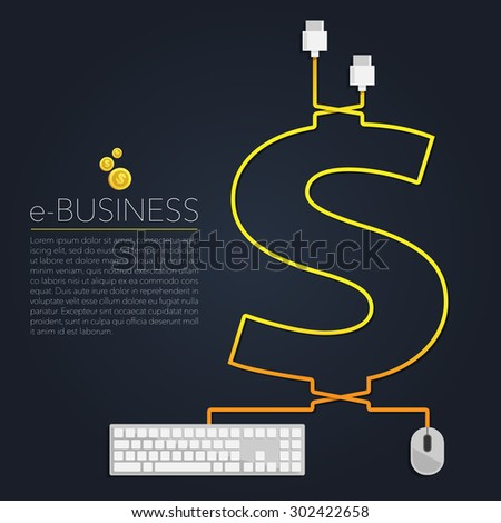 E-Business Mouse & Keyboard Vector - stock vector