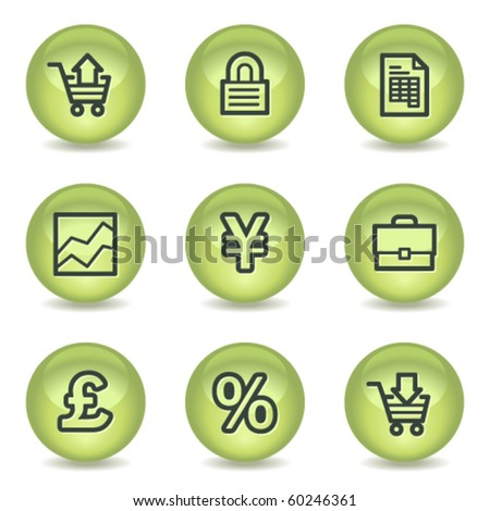E-business web icons, green glossy circle buttons - stock vector