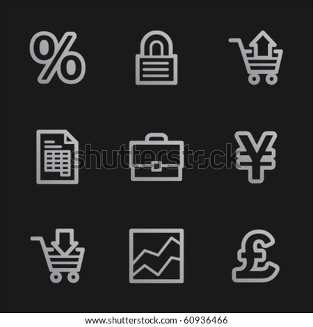 E-business web icons, grey mobile style