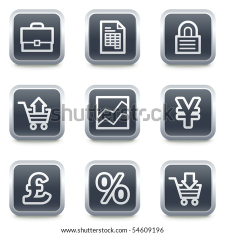 E-business web icons, grey square buttons