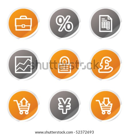 E-business web icons, orange and grey stickers