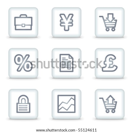 E-business web icons, white square buttons