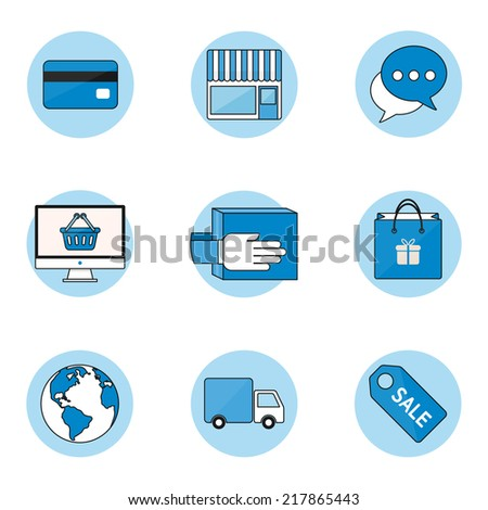 E-commerce and internet shopping icons set, outline style