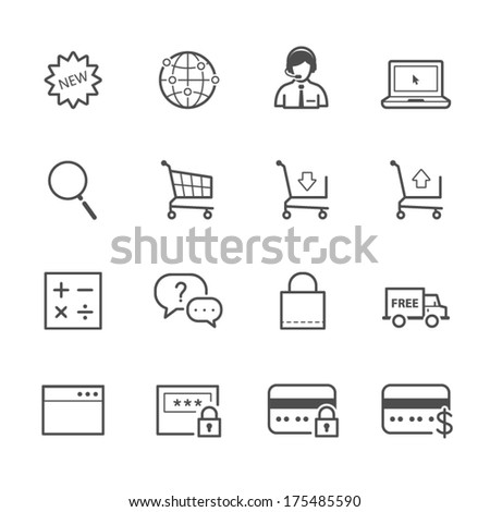 e-commerce and online shopping icons - stock vector