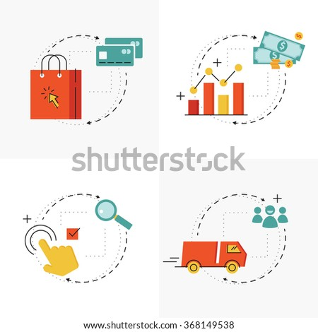 E-commerce and online shopping process. Buying via internet.concept. Flat line web icons - stock vector