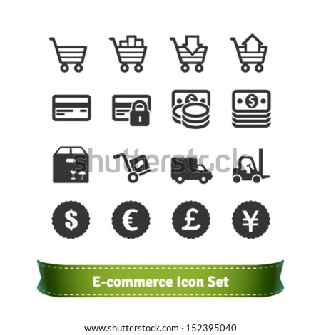 E-commerce and Shopping Icon Set - stock vector
