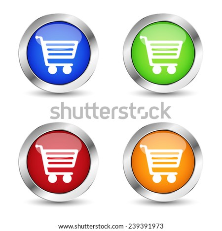 E-commerce and web online shopping buttons set with shopping basket symbol and icons on colorful silver badge vector EPS 10 illustration isolated on white background.