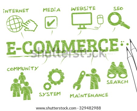 e-commerce. Chart with keywords and icons - stock vector