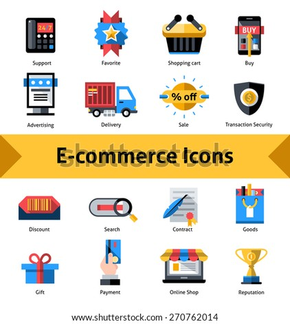E-commerce commercial security and online shopping icons set isolated vector illustration - stock vector