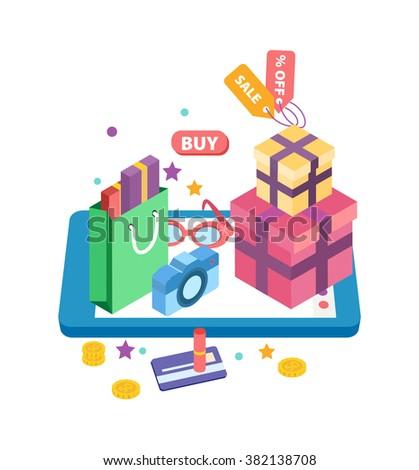 E-Commerce Concept Flat Vector Illustration online shopping isometric - stock vector