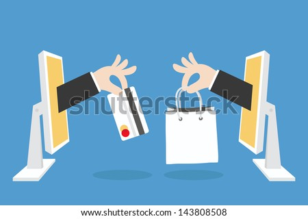 e-commerce concept minimal design, vector - stock vector
