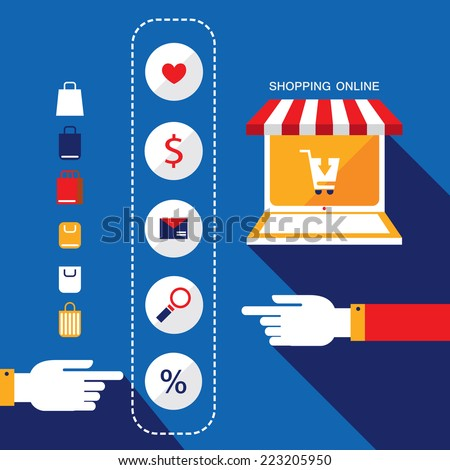 E-commerce concept. Person choosing products to buy or sell via internet shop. Online shopping. Vector illustration - stock vector