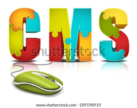 E-commerce concept with computer mouse and words made of puzzle.Vector illustration. - stock vector