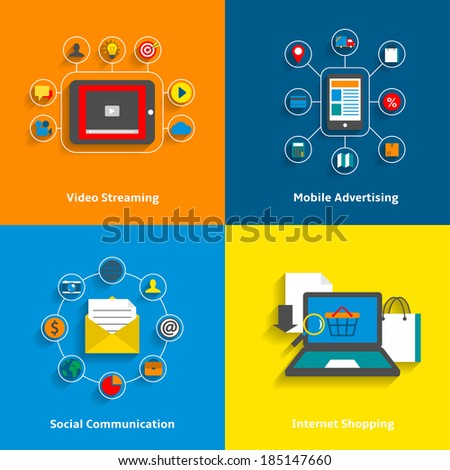 E-commerce decorative icons set of video streaming mobile advertising social networking and internet shopping elements vector illustration - stock vector
