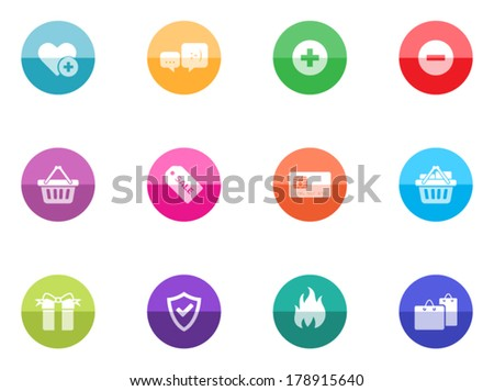 E-commerce icon series in color circles. - stock vector