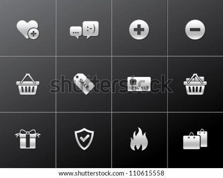 E commerce icon series in metallic style - stock vector