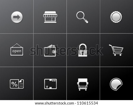E commerce icon set in metallic style - stock vector