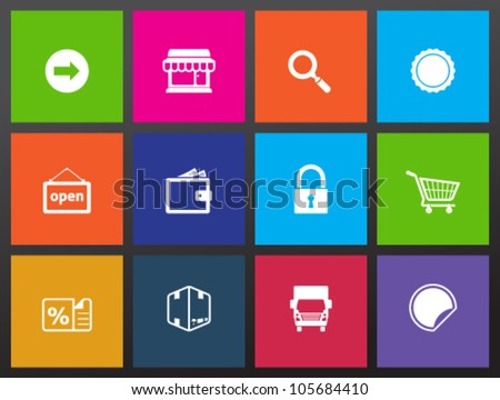 E-commerce icon set in metro style. - stock vector