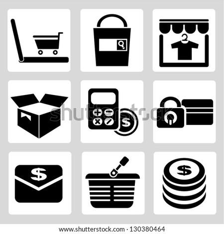 e commerce icons set - stock vector