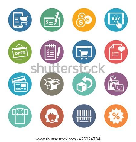 E-commerce Icons Set 3 - Dot Series - stock vector